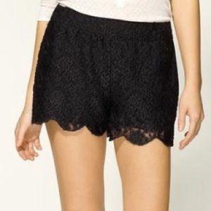 Free People Scalloped Black Lace Shorts XS